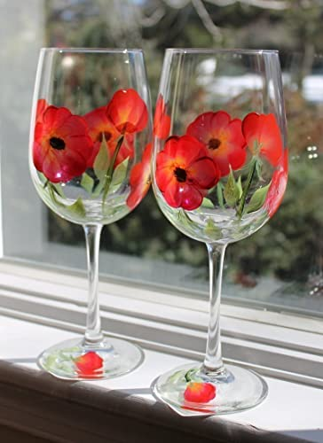 Hand Painted Wine Glasses - Red Poppy