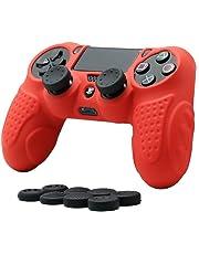 CHIN FAI PS4 Controller Schutz-Hülle, Silikon Anti-Rutsch 8 Daumen Griffe Skin Grip Schutzhülle für Sony PS4 / Slim/Pro Controller(Rot)