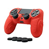 CHINFAI PS4 controlador de la piel cubierta de la caja con 8 puños de pulgar, antideslizante piel de silicona agarre caso de la cubierta del protector para el controlador de Sony PS4 / SLIM / PRO (rojo)
