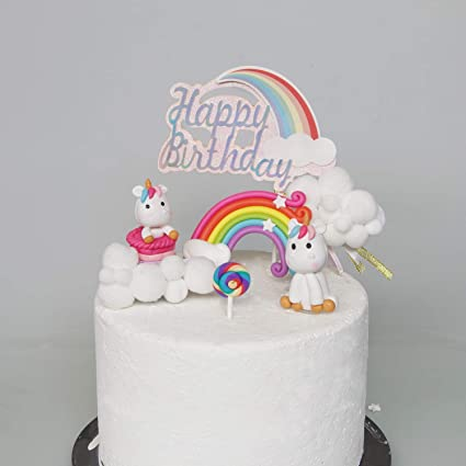Super Cloud Rainbow And Unicorn Cake Toppers Kit Set Of 7 Kids Girls Funny Birthday Cards Online Elaedamsfinfo