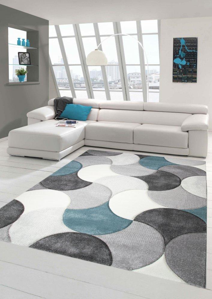 Designer und Moderner Teppich Kurzflor mit Tropfen Muster in Türkis Grau Beige Größe 160x230 cm