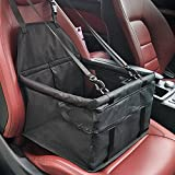 WATTA Car Booster Seat for Dog Cat, Portable Foldable Pet Car Safety Seat Carrier Bag with Clip-On Safety Leash and Zipper Storage Pocket - Two Support Bars