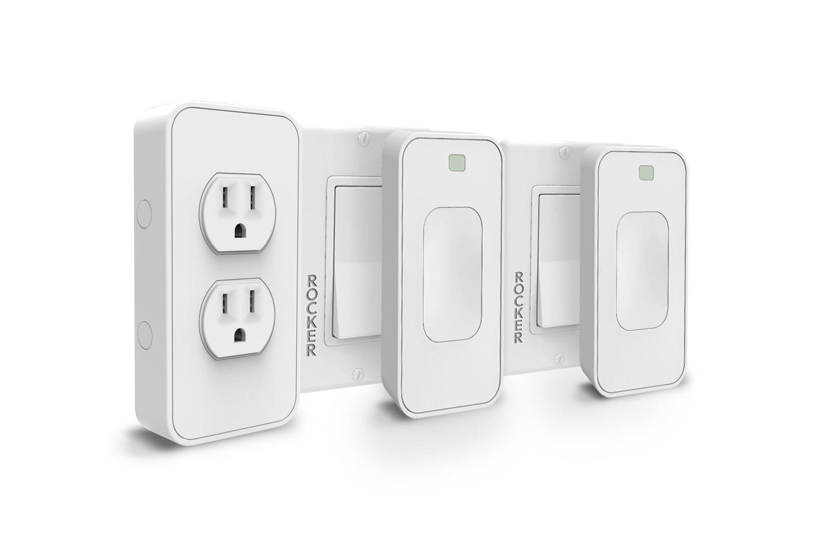 Switchmate Snap-On Smart Light Switch and Instant Smart Power Outlet That Listen - SKLPP00R8 Rocker Kit