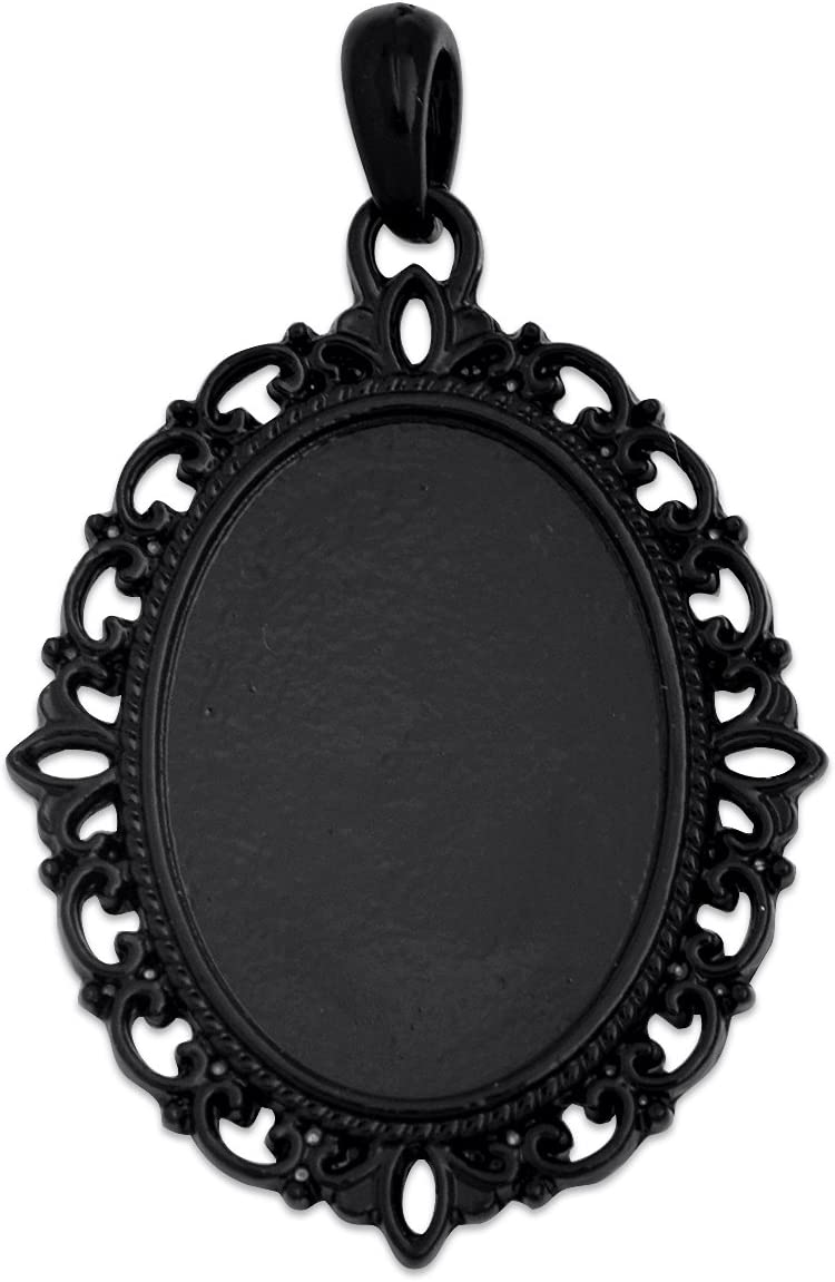 MAXENVISION 18x25mm Oval Pendant Tray Blank Base Cameo Cabochon Base Setting Pack of 20