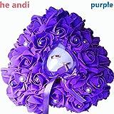 he andi Elegant Rose Wedding Favors Heart Shaped Gift Ring Box Cushion Pillow Decoration(25CM) (purple)