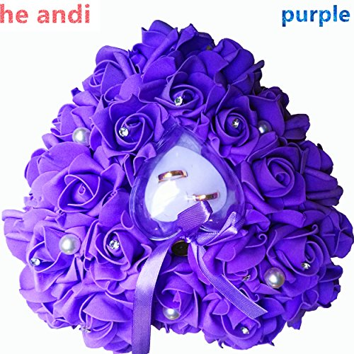 he andi Elegant Rose Wedding Favors Heart Shaped Gift Ring Box Cushion Pillow Decoration(25CM) - Shaped Rings Heart Wedding
