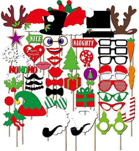 [Photo Booth Props, Coxeer 50 Pcs DIY Christmas Photo Booth Reunion Props for New Year Eve Party, Dress Up Costumes with Accessories on a Stick, Mustache, Christmas Hat, Glasses, Lips, Elk] (Diy Costume)