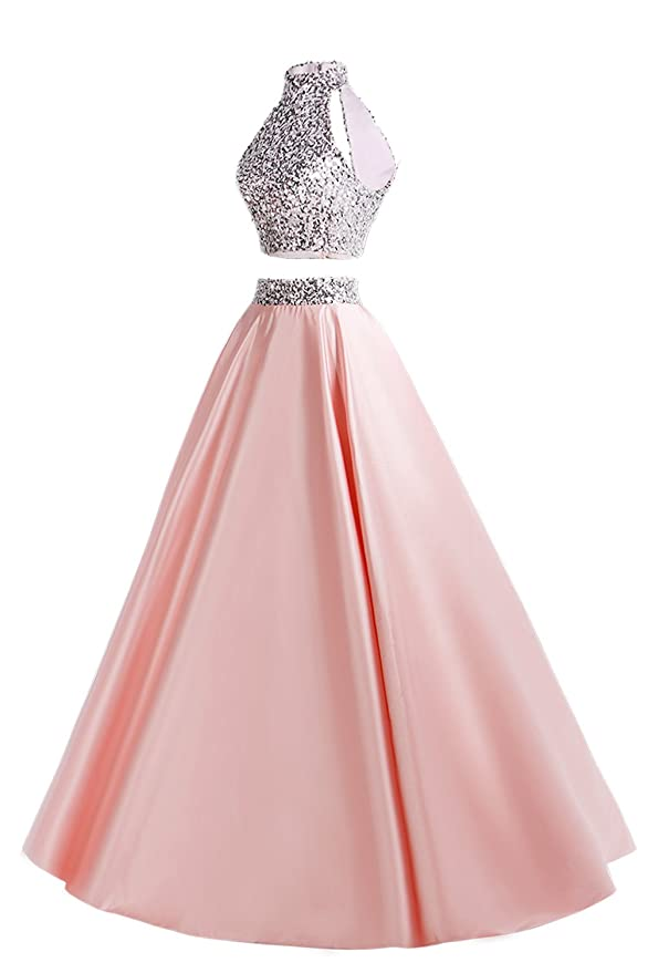 MsJune Women Two Piece Prom Dress Beaded Long Party Gowns Evening ...