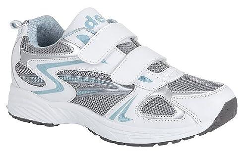 DEK Zapatillas de Entrenamiento para Mujer, con Velcro, Color Blanco/Azul, Talla