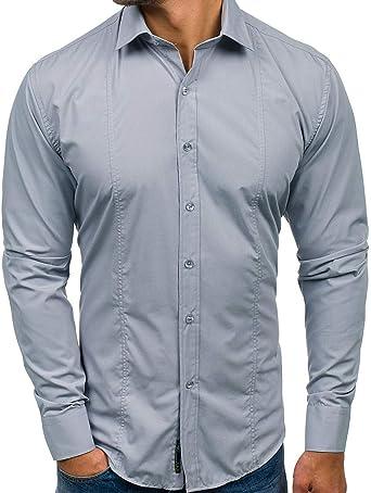 Camisa de Manga Larga para Hombre, Estilo Informal, de algodón básico, para Ocio o Boda Gris XXL: Amazon.es: Ropa y accesorios