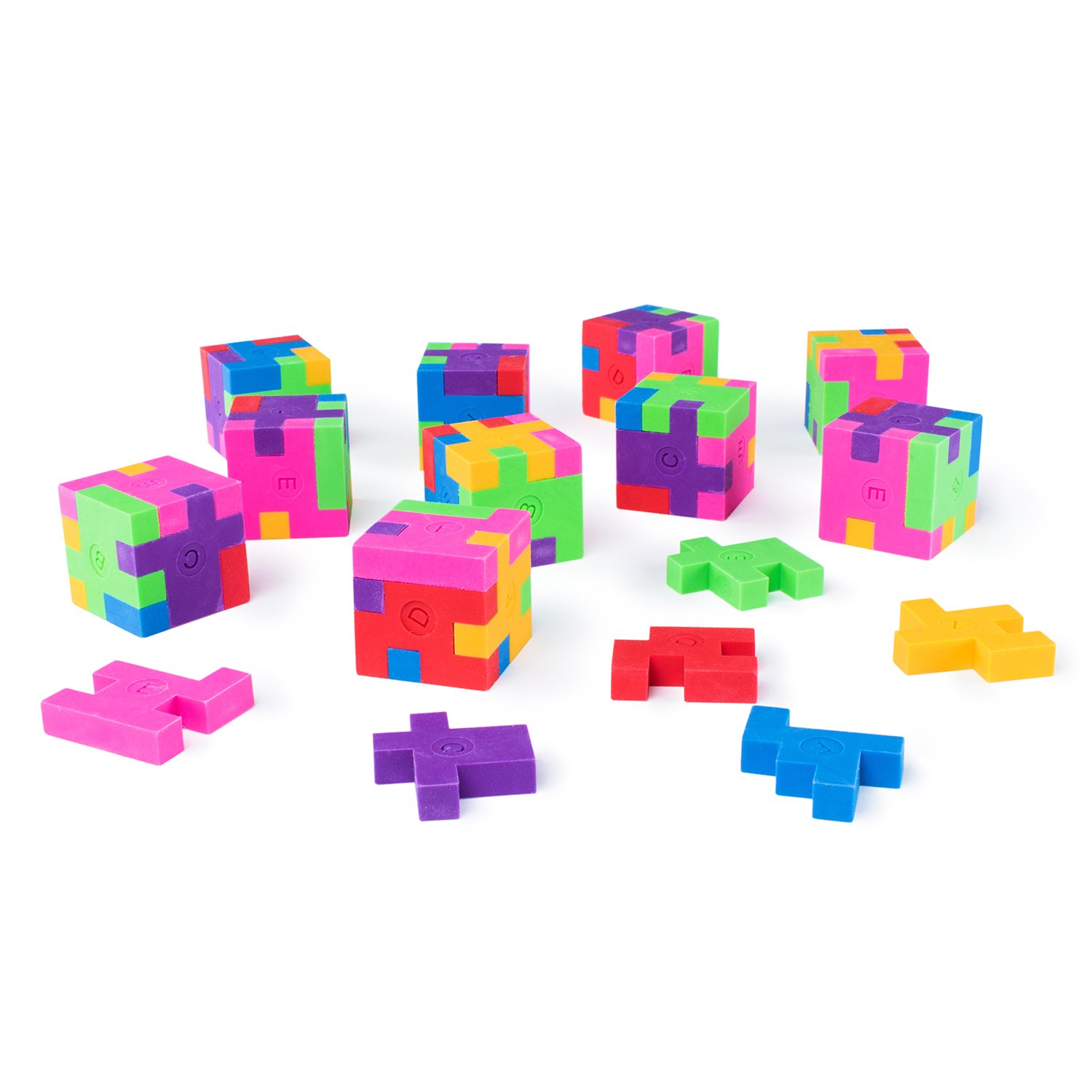 Mini Colorful Geometric Shape Puzzle Pencil Erasers for School Supplies, Party Favors, Games & Activities (12 Pack)