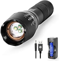 Red Green White Light 3in1 LED Torch, Multi Colour RGB Flashlight Powerful Bright 1000lm Tactical Zoomable Torch w…