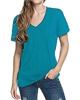 Women's Casual Basic V Neck Tshirt Short Sleeve Loose Solid Comfy Tee Shirt