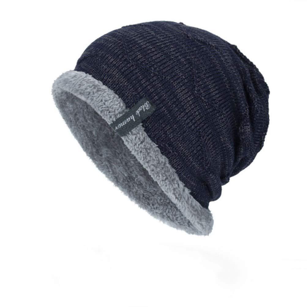 cb7be248760 LLmoway Men Women Slouchy Beanie Winter Warm Knit Hat Fleece Lined Lightweight  Skull Cap Navy Blue