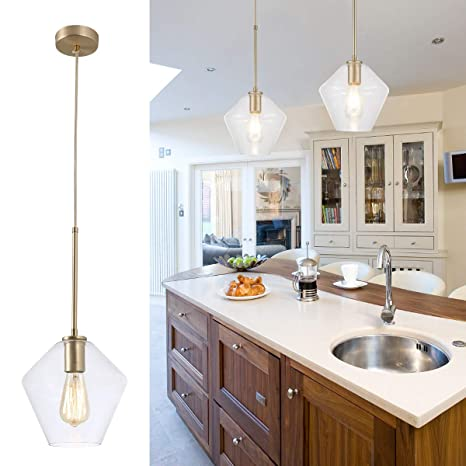 Island Pendant Light Fixtures/Hanging Pendant Light Golden Finishing Clear  Glass Light for Kitchen Island,Hotel or Bedroom -1 Lights -Middle Size ...