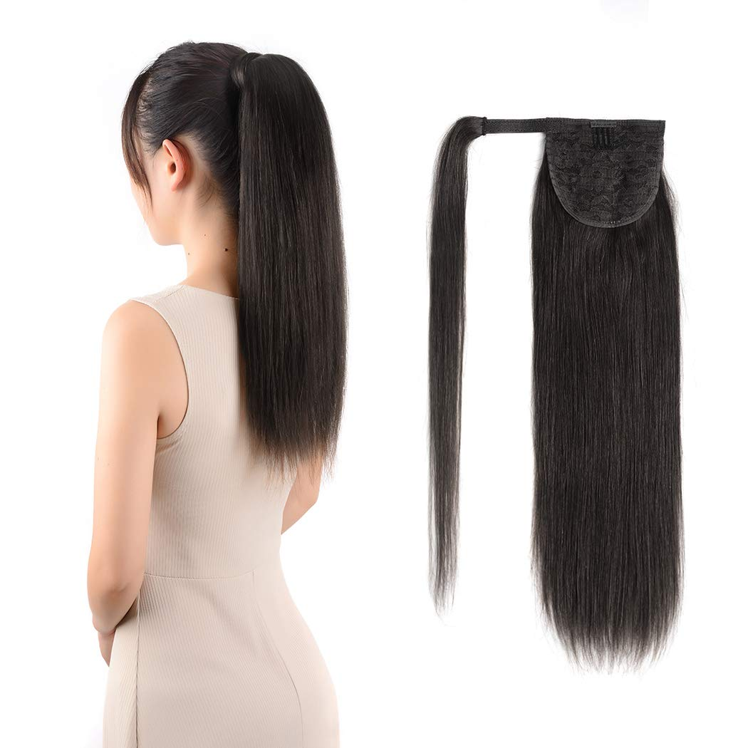 Ponytail Extensions Real Human Hair Clip in 14 inches 60g Off Black Color Straight Drawstring Warp Around Ponytail Hair Piece Remy Human Hair for Women (14''-60g, Off Black #1B) by Amygirl