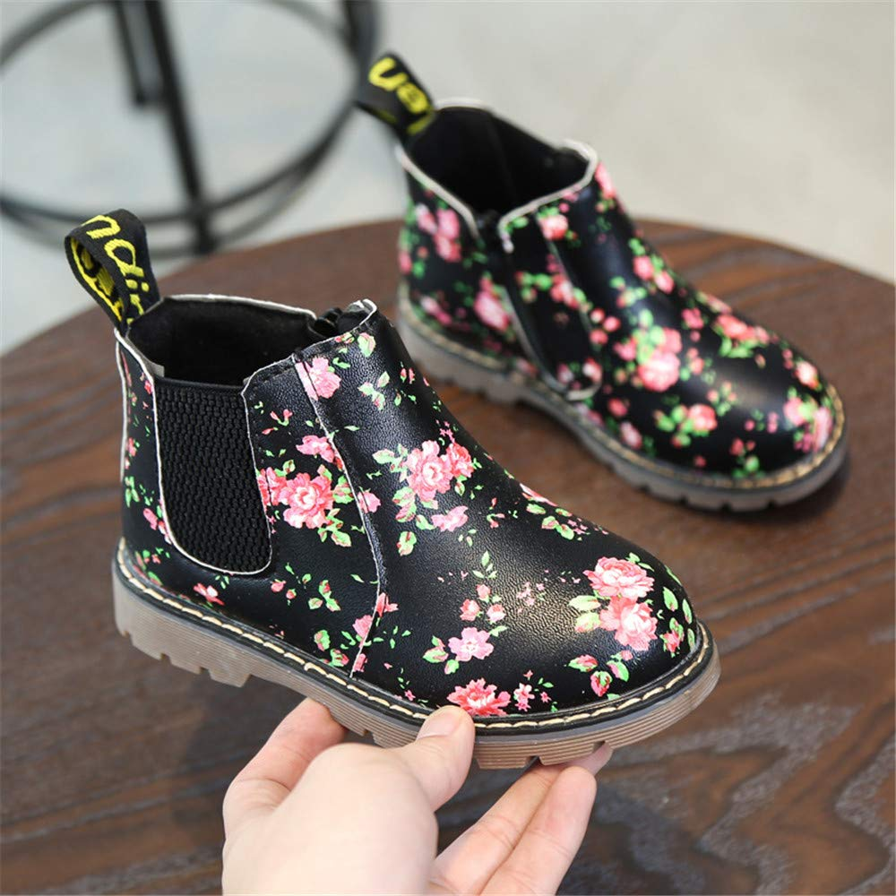 Kids Girls Shoes Ankle Boots Floral British Style Martin Boots Kids Warm Boots