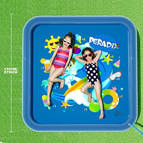 Peradix Water Sprinkler Splash Pad for Kids, Upgraded 68\' Summer Outdoor Water Toys Wading Pool Splash Play Mat for Toddlers Baby, Outside Water Play Mat for 1-12 Years Old Children Boys Girls(Square)