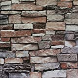 Blooming Wall 5703 3d Faux Brick Stone Wall Mural Wallpaper for Bathroom Kitchen Livingroom Bedroom,Large Size,57 Square ft/roll,Multicolor