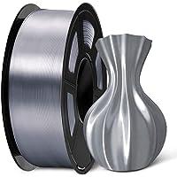 SUNLU PLA Silk Gray Filament 1.75mm 3D Printer Filament, 1KG 2.2 LBS Spool, Shiny Metallic PLA Silk Filament
