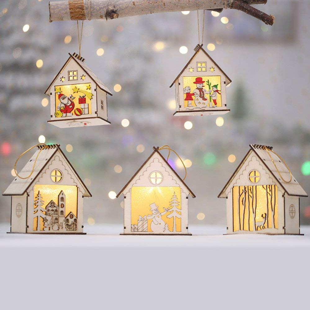 Erduo HAPPYXMAS Nuove Decorazioni Natalizie Luminose Casette in Legno Creative Cartoon Lanterne in Legno casetta Neve casa Natale casetta Luminosa casetta