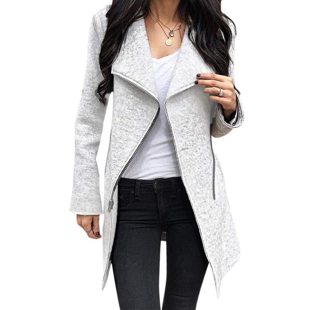 Forart Women Lapel Long Sleeve Wool Blends Coat Asymmetric Trench Outwear Tops