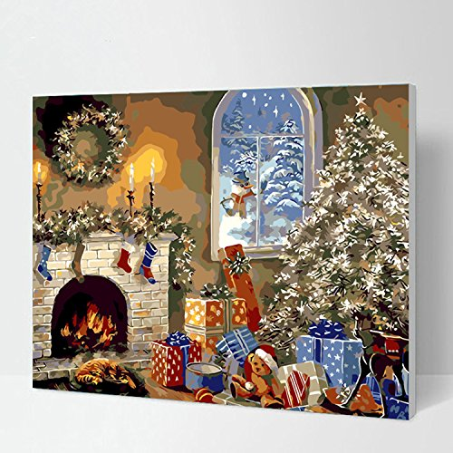 [WOODEN FRAME]Diy Oil Painting Paint By Number Kit-W207 Christmas Gift 16*20 Inch