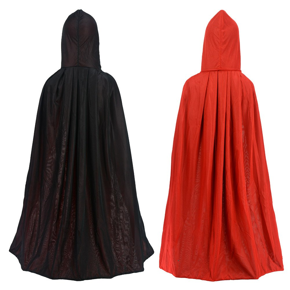 Double Face Red Black Hooded Halloween Cloak Goth Vampire Priate Cape Gardeningwill