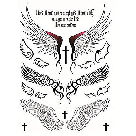 Ouken Tatuaggi Temporanei Adesivi Disegno Di Angelo Ali Croce