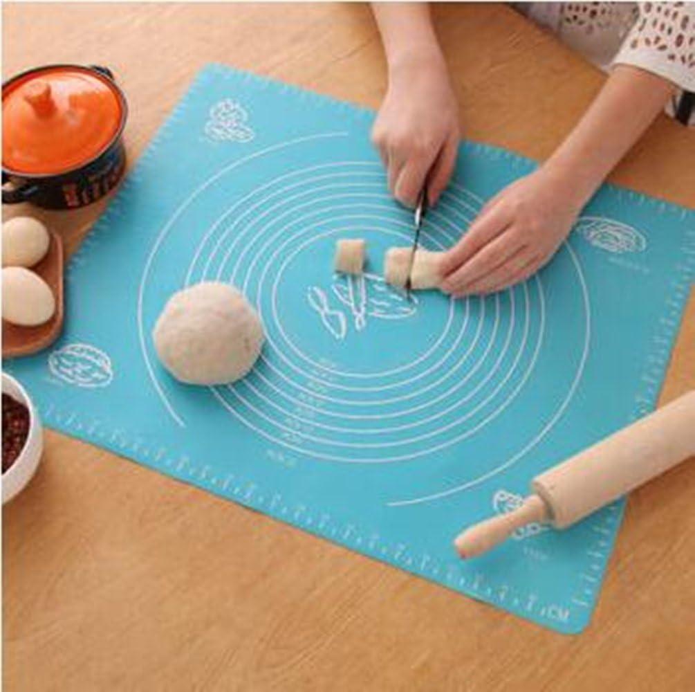 Gli Appassionati di Cucina 50 * 40cm Bukm Tappetino da Forno Silicone antiaderenti Cottura Mat Fondente Impasto Pasticcino Bake Mat per la casalinga Blu