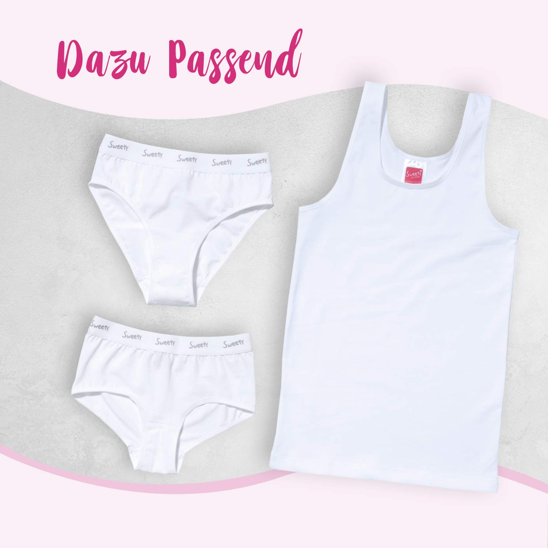 Sweety M/ädchen Unterhemd Single Jersey I 2er Pack I Achselhemd aus elastischer Baumwolle I Mit Einfa/ßband und Breiten Tr/ägern I Top M/ädchen I Wei/ß I Gr 128 bis 176