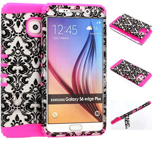 Galaxy S6 Edge Plus Case, Wireless Fones TM Kickstand Tough Armor Cover White Damask on Over Pink Skin for Galaxy S6 Edge Plus (Koolkase Samsung Galaxy S4 Case)