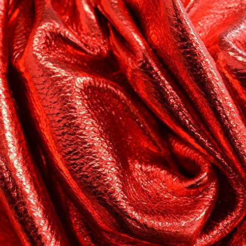 Roulette Red Metallic Vegas Cow Leather Sheets for Projects 12