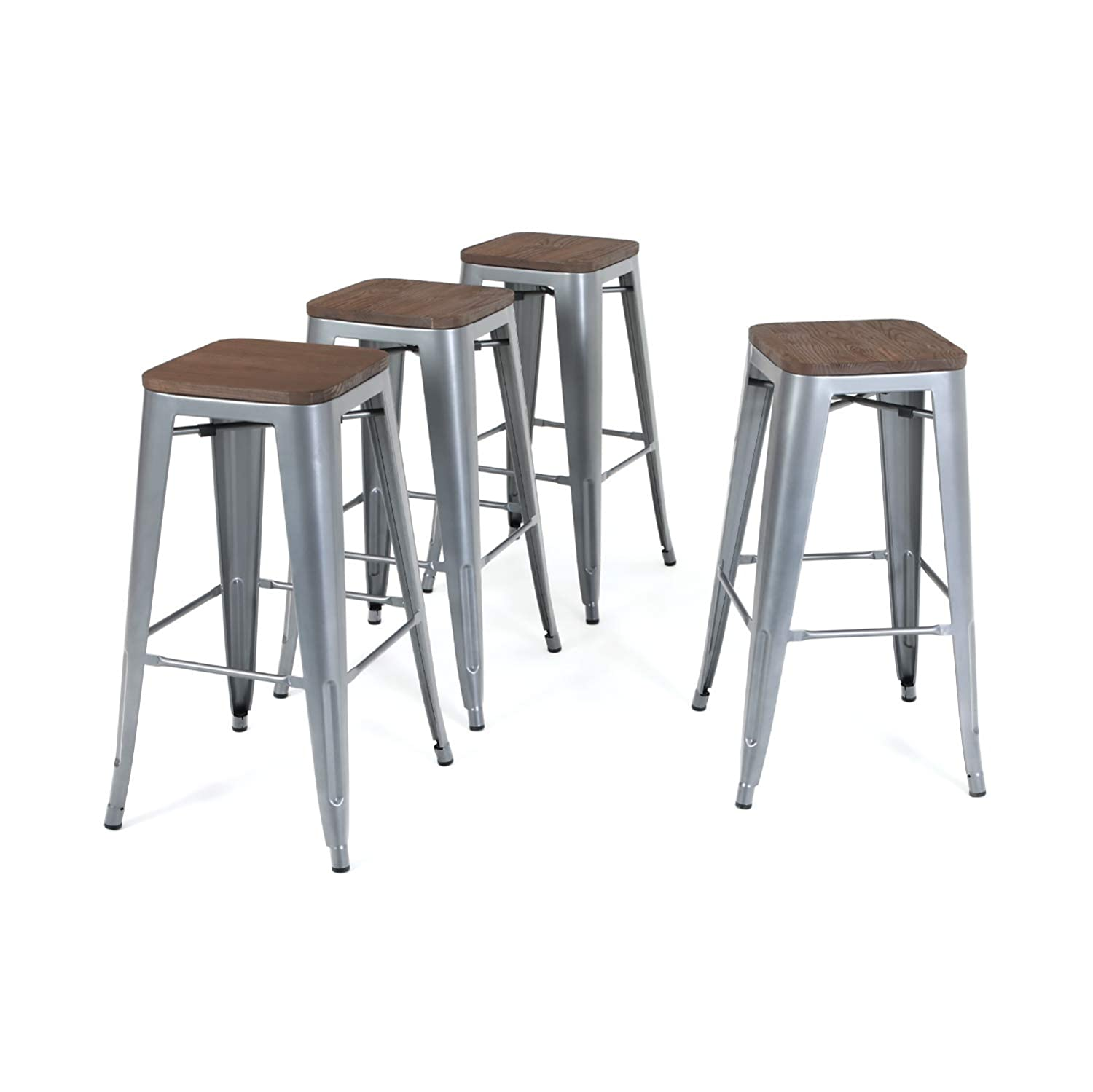 ALPHA HOME 30 Barstools Set of 4 Counter Height Metal Bar Stools with Wood Seat, Vintage Metal Backless Distressed Metal Finish for Industrial Appeal,Matte Silver Grey