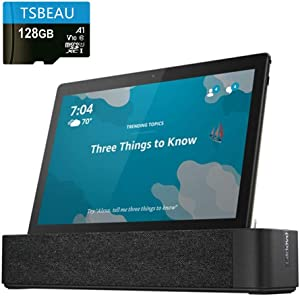 "Lenovo Smart Tab M10, 10.1""Full HD, 3.0GB LPDDR3, 32GB Storage, 1.8 GHz Octa-Core, Slate Black Tablet with Alexa Enabled Charging Dock Included, Android 8.0, Bundled with TSBEAU 128GB Micro SD Card"