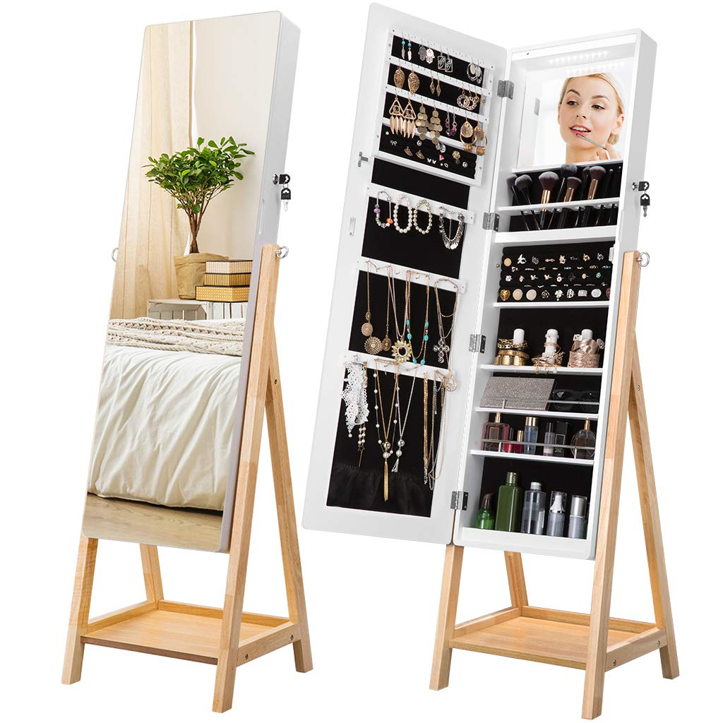 LANGRIA 10 LEDs Jewelry Cabinet Armoire with Full-Length Mirror, Solid Stand Magnetic Lockable Door for Safe Storage of Jewelry, Accessories, Makeup