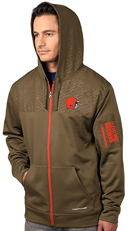 reputable site c55c8 cddd0 Majestic Cleveland Browns Action Men's F/Z Therma Base Hooded Sweatshirt