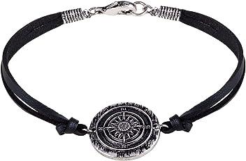 SIX MAN Armschmuck, Textil Armband in schwarz, mit silbernem Plättchen, mit Kompass Design (400-936)