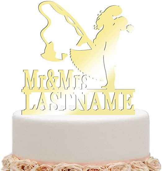 Fishing Wedding Cake Topper-Hooked on Love 2 with Initials and Mr/&Mrs last name