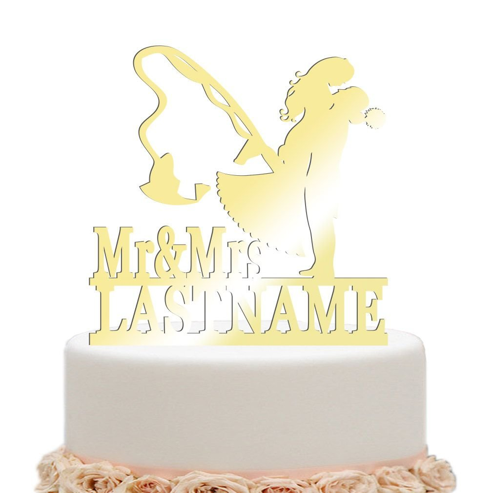 Amazon.com: ivisi Personalized Wedding Cake Topper Funny Fishing ...