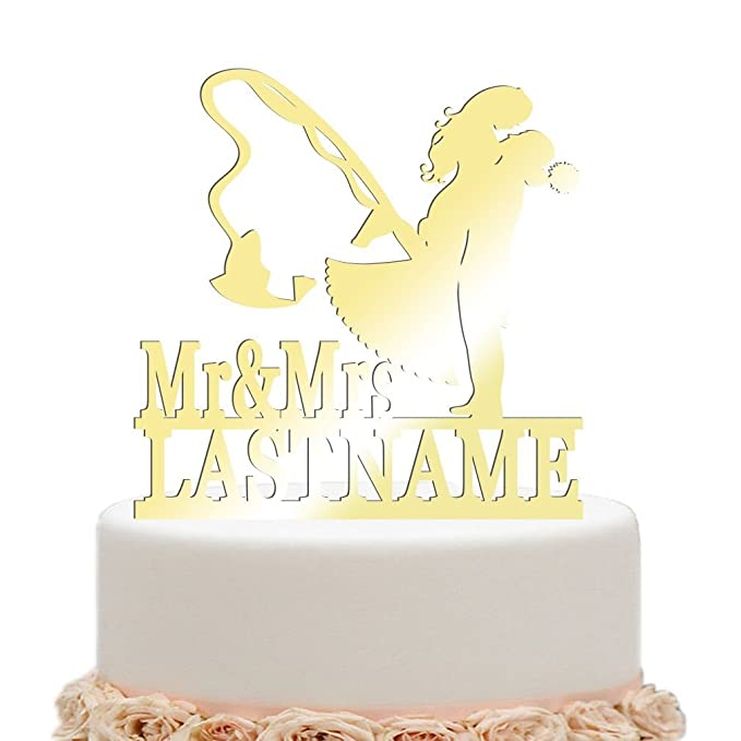 Amazon.com: ivisi Personalized Wedding Cake Topper Funny Fishing ...