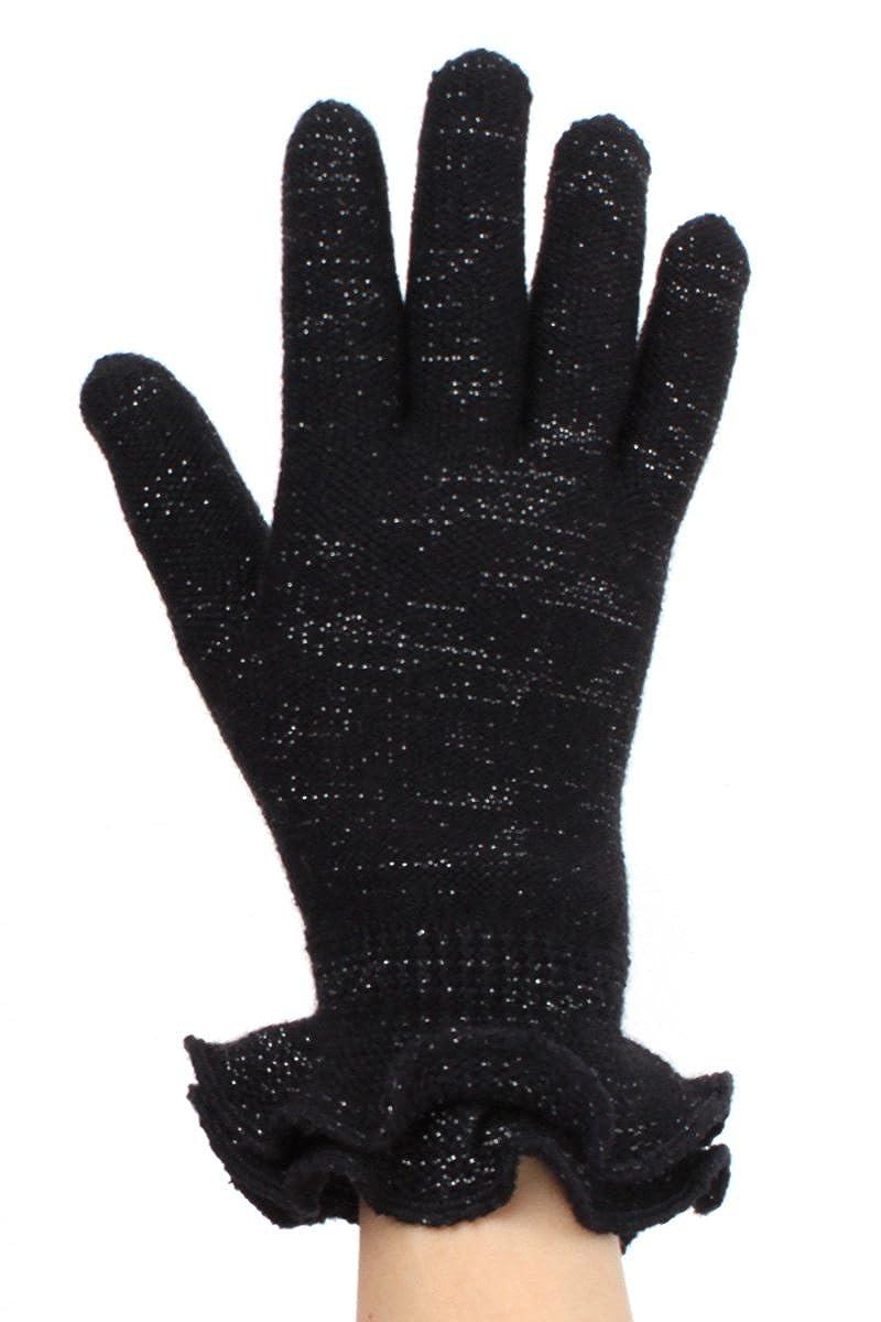 LLレディース冬ニット手袋ファッション暖かいフリース裏地 – 多くのスタイル B01LZYR0VK One Size: Best for XS to L Black Ruffle Metallic Thread Black Ruffle Metallic Thread One Size: Best for XS to L
