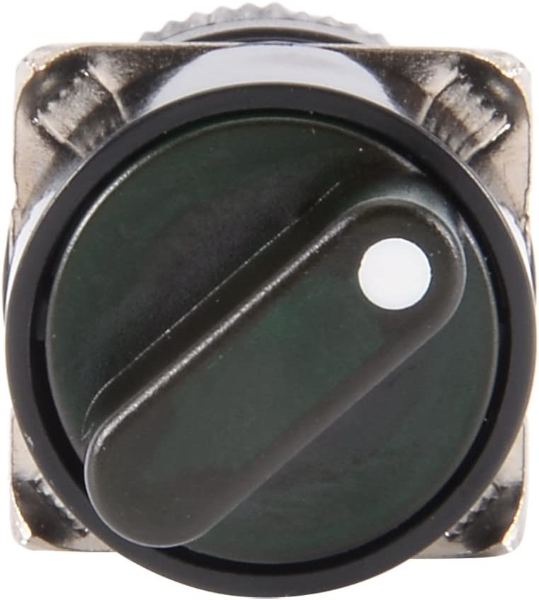 uxcell Latching Rotary Selector Switch 16mm Panel Cutout Dia SPDT ON//Off 2 Position Round Head 24V Green Light