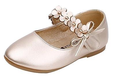 c8283dcd5043e La Vogue Chaussure Princesse Enfant Fille Ballerine Sandale Cérémonie  Mariage Simili Cuir Souple Premier Pas Or