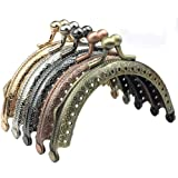 ORYOUGO Set of 5 Retro Coin Metal Purse Frame Making Kiss Clasp Lock for Clutch Leather Bag Handle Handbag Accessories Red Bronze Tone Bags Hardware