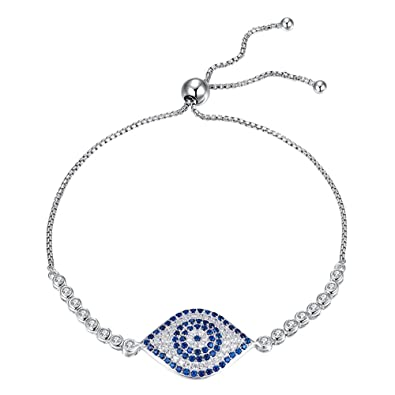 4ff60c7777b609 Kaletine Blue Evil Eye Tennis Bracelet Sterling Silver 925 Cubic Zirconia CZ  Adjustable Anchor Chain 10