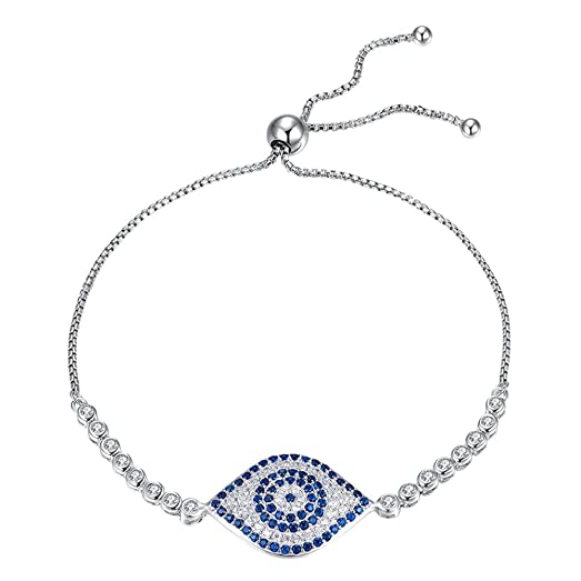 Kaletine Blue Evil Eye Tennis Bracelet Sterling Silver 925 White Cubic Zirconia 10 inches Box Chain For Women ur3Rae