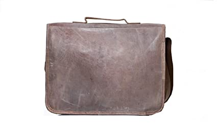 a96a7aa552 Image Unavailable. Image not available for. Color  Genuine Leather  Messenger Bag for Men and Women - 14 inch Laptop Bag for College Work