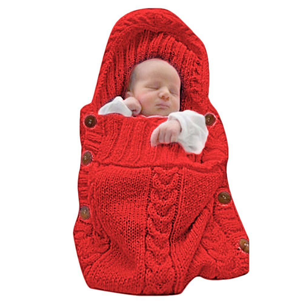 Poplover Baby Wrap Swaddle Blanket Colorful Knit Button Sleeping Bag for 0-12 Month Baby Red