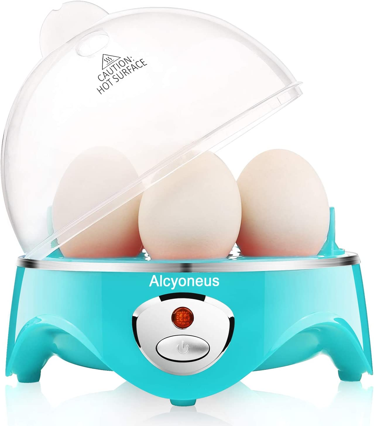 Alcyoneus Egg Cooker, Egg Boiler Electric, Hard Boiled Egg Maker with Auto Shut Off, Noise-Free & 7-Capacity, Suitable for Poached Egg, Scrambled Eggs, Omelets - Cyan (5 BPA-free/ETL Listed/FDA Compliant)